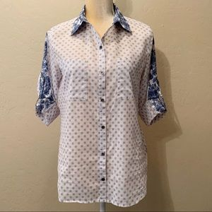 Seven7 Paisley Print Roll-Tab Button-Down Shirt